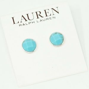 Simulated Turquoise Silver Tone Stud Earrings